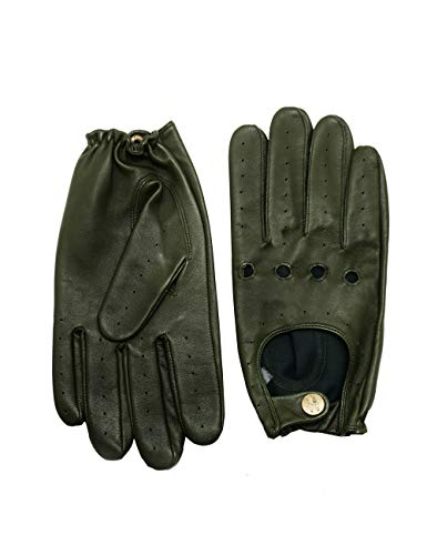 YISEVEN Men's Sheepskin Leather Motorcycle Driving lined Gloves Classic Soft Lampskin Button Punk Rock Cycling Fitness Touchscreen Warm Winter Dress, Green 9.5