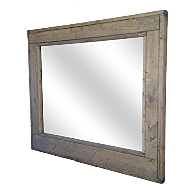 Herringbone Large Mirror 36 x 30 Horizontal Framed Mirror Stained in Weathered Oak - Reclaimed Wood Mirror - Large Wall Mirror - Rustic Modern Home - Home Decor - Mirror - Housewares by Renewed Decor