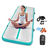 Gymnastics Inflatable Air Tumbling Mat 13Ft 16Ft 20Ft Track Air Mats With Electric Air Pump For Beach,Training,Cheerleading,Water Yoga (White+Green, 9.84FT)