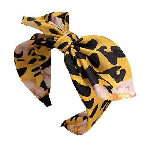BUKINIE Papillon Léopard Bandeau Cheveux Tête Cerceau Bandeau Mode Satin Lisse Bandeau Style Rétro Sexy Imprimé Accessoires Capillaires Casual Chic pour Voyage Photo Props(Jaune