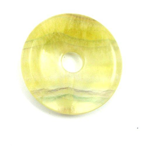 Donut Fluorit gelb mit Streifen 40 mm