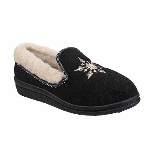 Mirak Femme Snowflake Pantoufles Chaussons Textile Confortable Slip On Fermeture Noir 37