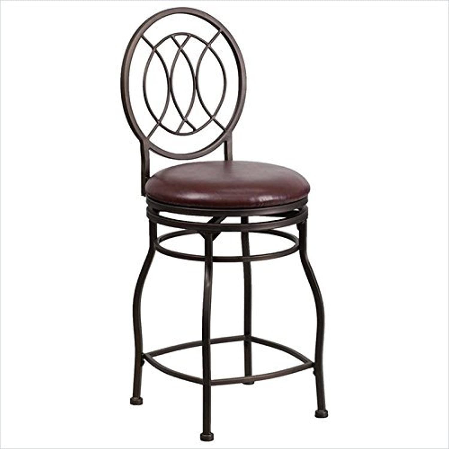 Flash Furniture BS-6309-29-BN-GG 29'' Brown Metal Bar Stool with Brown Leather Swivel Seat