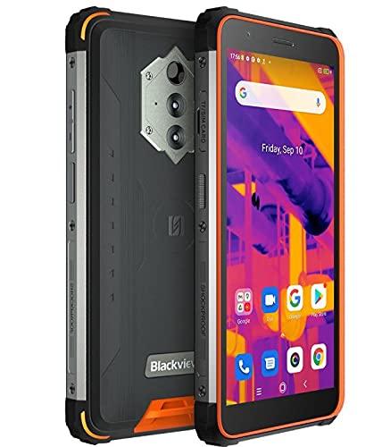Blackview BV6600 Pro Termocamera Rugged Smartphone, Batteria 8580mAh (Ricarica Inversa), 5.7'' HD+ IP68 IP69K Cellulare Antiurto Impermeabile Android 11, Octa Core 4GB+64GB,Fotocamera 16MP GPS Arancia