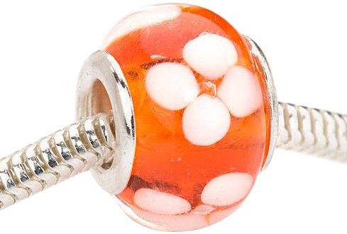 Beadaholique Murano Style Glass Lampwork Pandora Compatible Beads, 14mm, Orange with White Flower