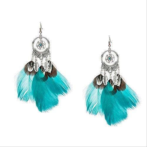 Boucles d'oreilles vacances femmes filles plume naturelle gland boucles d'oreilles Boho Vintage plume ethnique Dangle Earirng Charm E020521D