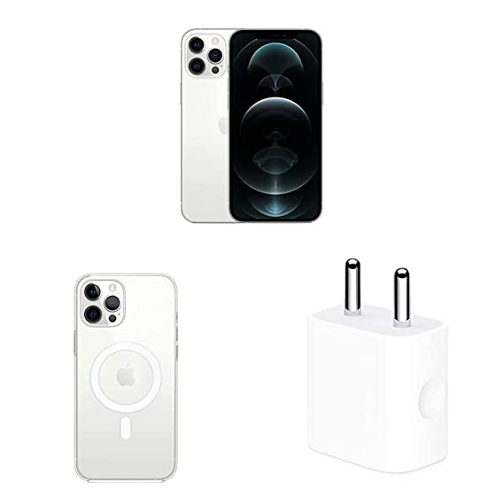 New Apple iPhone 12 Pro Max (256GB) - Silver with Apple Clear Case with Magsafe (for iPhone 12 Pro Max) and Apple 20W USB-C Power Adapter