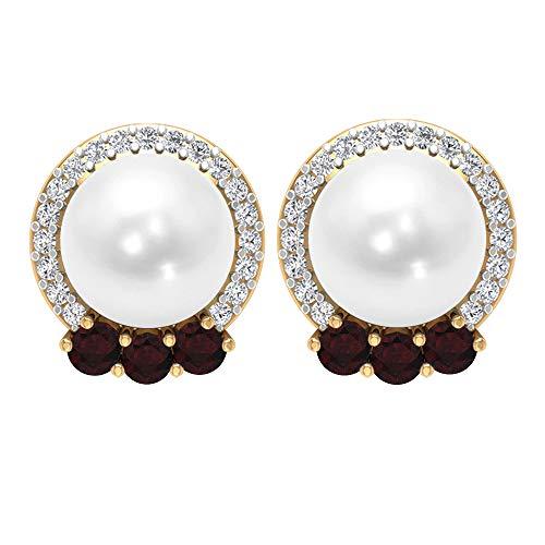 Pendientes de Halo, piedras preciosas de 6,49 quilates, diamantes HI-SI de 2 mm, granate de 7 mm, pendientes de perlas, joyas de gemas naturales, 14K Oro amarillo, Par