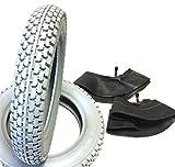 Lot de 2 pneus pour fauteuil roulant Gris 2.50-8 + 2 chambres à air coudé, pneus profilés bloqués, construction stable...