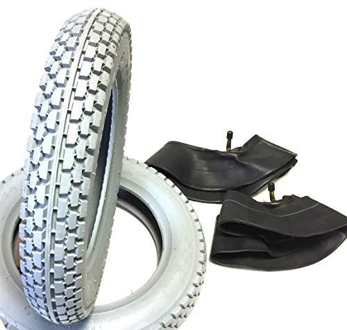 Ro Lot de 2 pneus de fauteuil roulant 2,50-8 gris + 2 chambres à air valve coudée - Profil bloc solide - Construction des pneus stable avec load Range B - Pneus pour fauteuil roulant électrique - Pour scooter électrique
