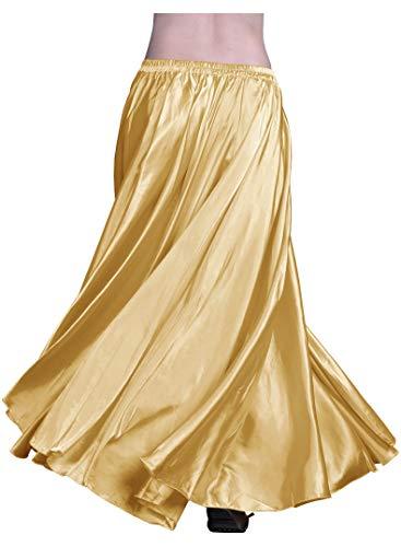 Indian Trendy Women's Satin Full Circle Swing Halloween Belly Dance Tribal Skirt One Size: 36' Light Gold