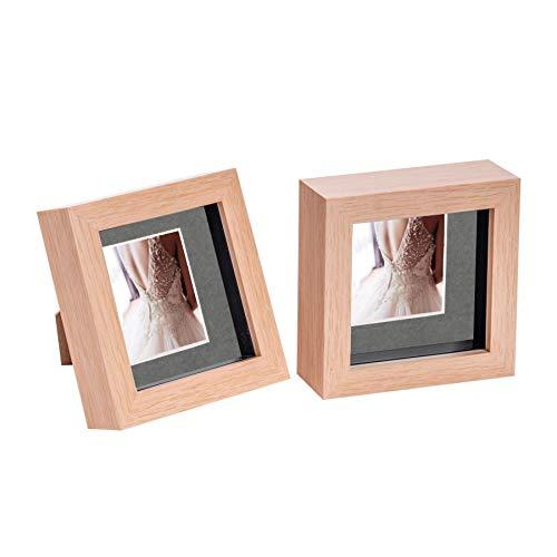 Nicola Spring 2 Stück 4 x 4 3D Shadow Box Photo Frame Set - Craft Anzeigen Bilderrahmen mit 2 x 2 Montieren - Glas Aperture - Hellen Holz/Grau