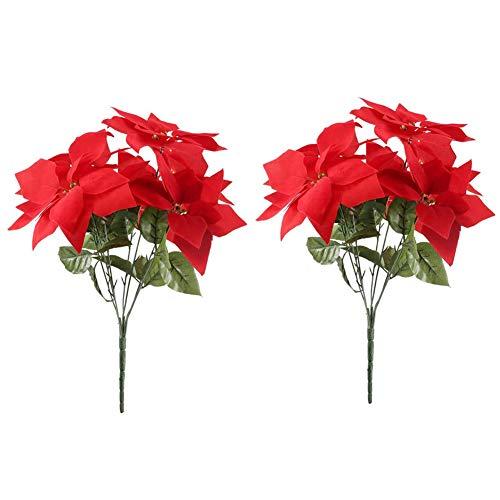 Artificial Flowers Red Flowers Silk Poinsettia Bouquet Fake Christmas Decorative Flowers for Home Party Floral Arrangement 2pcs