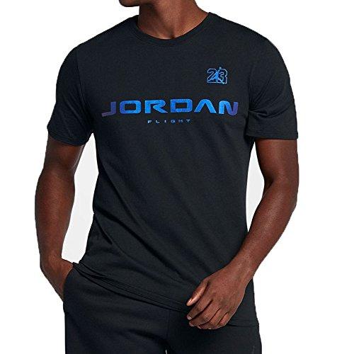 Jordan Retro 13 JSW Men's Casual Fashion T-Shirt Black/Hyper Royal aj7375-010 (Size L)