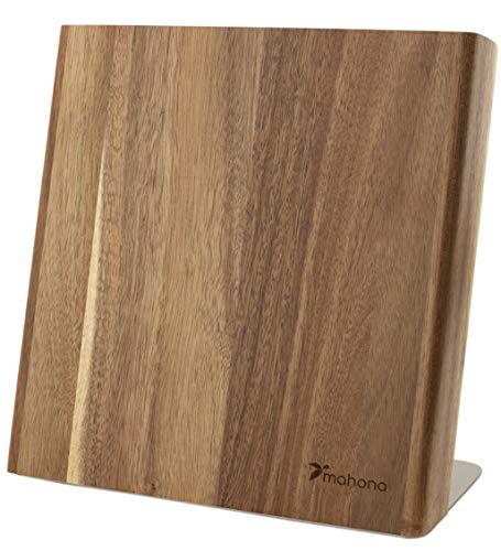 Magnetischer Messerblock aus Akazien Holz   Messerhalter magnetisch ideal zur schonenden Aufbewahrung von hochwertigen Messern für eine aufgeräumte Küche (unbestückt / ohne Messer)