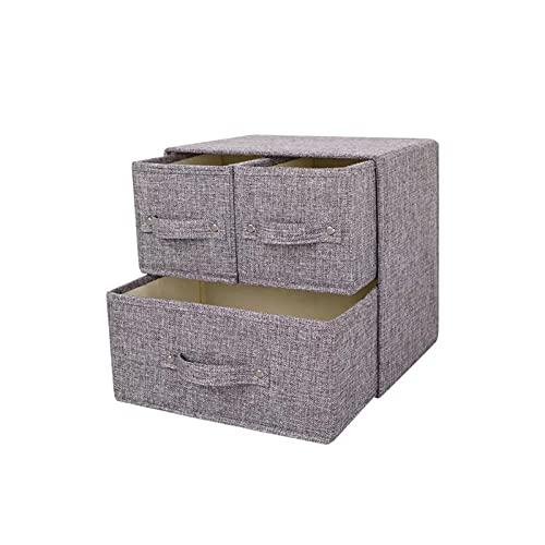 Caja de Almacenamiento de Tela Plegable, Caja de Almacenamiento de cajones, con Tapa, Lino de algodón a Prueba de Agua, Tipos de cajón de múltiples Capas, Ropa Interior