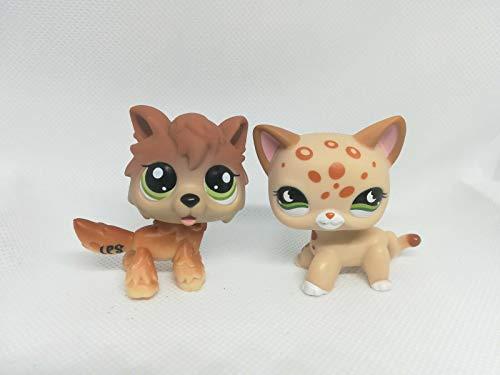 2pcs/lot Kid Toy Littlest pet Shop LPS#852 #2141 Wolf Dog Short Hair Cat