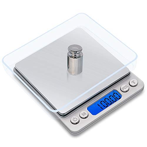 Mengshen Digital Schmuckwaage/Küchenwaage Steelyard 500 g (0,01 g), hochpräzise Milligramm-Taschenwaage Sensitive Portable Display mit Hintergrundbeleuchtung aus Edelstahl