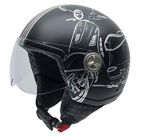 NZI Zeta Grafik Offenes Gesicht Motorradhelm, Matt B-Vespa Turia, Größe L