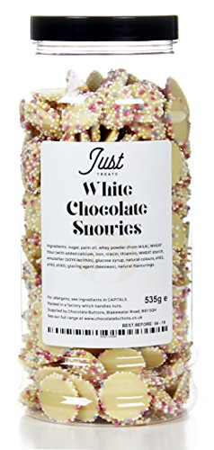 White Chocolate Snowies Gift Jar. Delicious white chocolate buttons covered in crunchy, colourful sprinkles