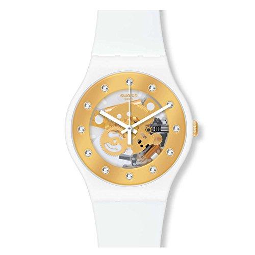 Reloj de cuarzo suizo Originals de Swatch (SUOZ148), para mujer,blanco, de silicona, con esfera dorada