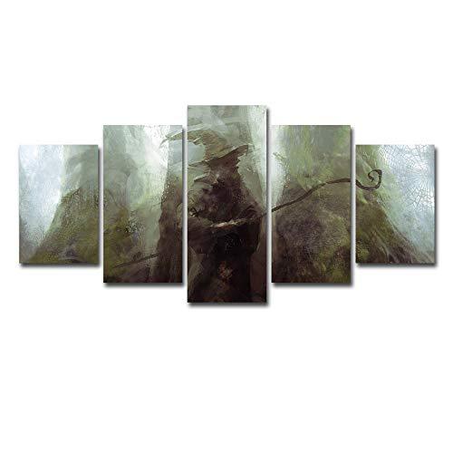 60Tdfc geschenk 5 stuks canvas schilderij decoratie woonkamer voor modern HD behang wand poster Gandau tuniek grijs anime dieren landschap stad