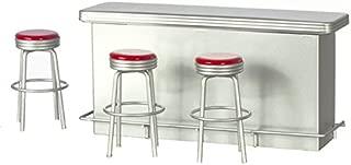 Dollhouse 1950's Retro Counter Red Stools Miniature Pub Bar Kitchen Furniture