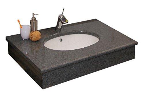Waschtisch aus Naturstein mit Keramikwaschbecken, Granit, 90x59x15cm, anthrazit (mit Armaturbohrung)