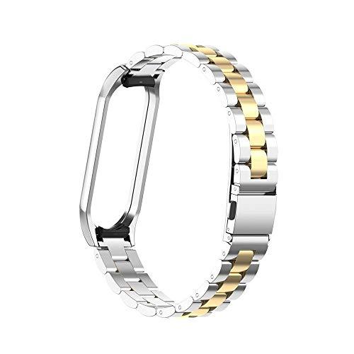 MTUP Edelstahl-Armband mit Metallgehäuse und Metallgehäuse (Armbandfarbe: Silber, Bandbreite: Miband 4)