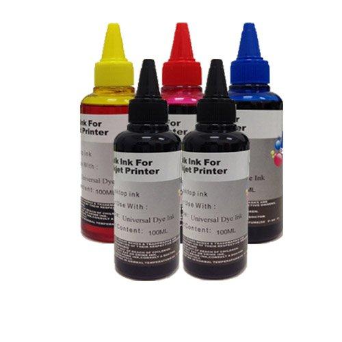 KIT Ricarica cartucce 5 Flaconi 100ml universale inchiostro coroli per Brother , Canon , Epson , HP , LEXMARK , XEROX , DELL.