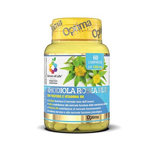 Colours of Life Rhodiola Rosea Plus - Integratore di Rodiola - per il Normale Tono dell'Umore - Senza Glutine e Vegano, 60 Compresse