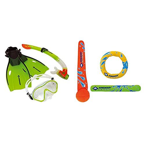 Schildkröt Kinder-Schnorchelset Bermuda 3-teilig, Brille, Schnorchel, verstellbare Flossen in verschiedenen Größen & Schildkröt Neopren Diving Set, 3-teiliges Tauchset, je 1 Ring, Stab, Ball