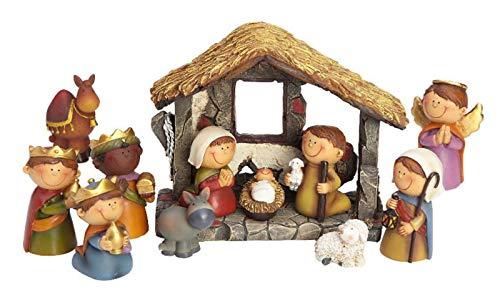 dpr. Kleine Krippe 12-TLG. Set Kinder Krippenfiguren mit Stall handbemalt Weihnachtskrippe Deko Figuren Weihnachten