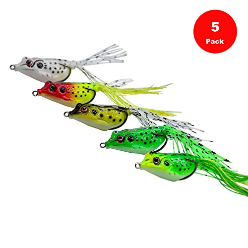 Yosawo 5-pieces Fishing Lures Topwater Floating Frog Baits with Double...