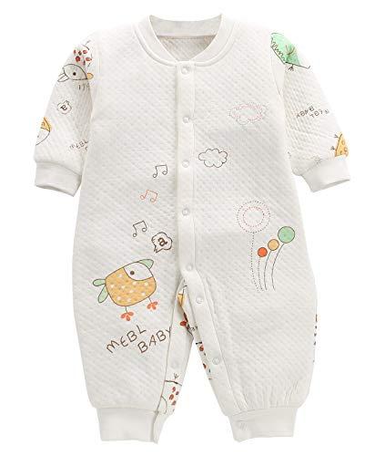 FEOYA Vêtement Bébé Fille Garçon Eté Pyjama Naissance 3-6 Mois Combinaison Barboteuse à Manches Longues Grenouillère Sleepwear Coton Nouveau Né,Blanc,3-6 mois