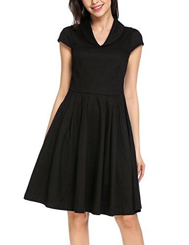 Zeagoo Damen Businesskleid Sommerkleid Büro 50er Retro Kleider Schwingen Vintage Cap Sleeve Ballkleid Abendkleid Doll-Kragen, EU 42/ XL, Schwarz
