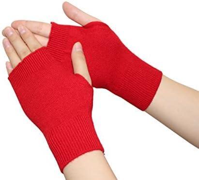 Olyer Women's Fingerless Gloves Stretchy Knitted Cashmere Winter Warmer Gloves Unisex