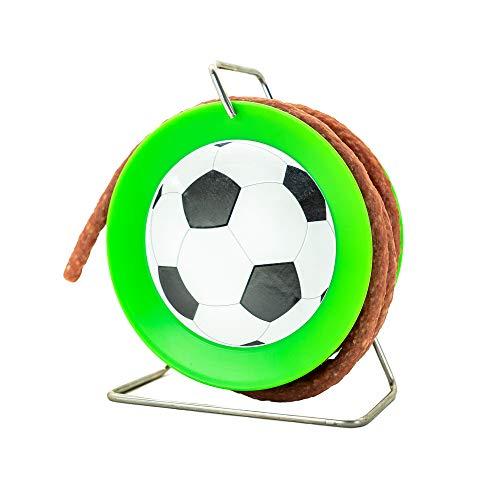 WURSTBARON® - Fußball Wurst Salami Trommel - für Fan Verein Turnier Liga WM EM - 3,5 Meter Wurst Snack nach Krakauer Art auf einer Mini Kabel-Trommel mit Fußball - 240 g
