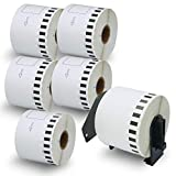 BETCKEY - Compatible DK-2205 Continuous Length 2-3/7' x 100'(62mm x 30.48m) Replacement Labels,Compatible with Brother QL Label Printers [6 Rolls + 1 Refillable Cartridge Frame]