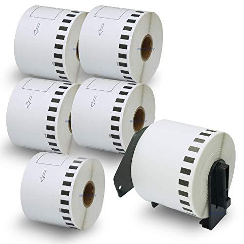 BETCKEY Etiketten kompatibel mit Brother DK-22205 62mm x 30,48m 6 Rollen+1 Halter, Endlose Papier Etiketten für Brother: QL1050 QL1060N QL500 QL550 QL560 QL570 QL600 QL700 QL710W QL720NW QL-1100