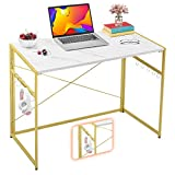 """Mr IRONSTONE 31.5"""" Folding Computer Desk, Small Writing Desk Easy Assembly with 10 Hooks, Foldable Metal Frame, Writing Workstation Laptop Table for Home Office (Laminate Marble)"""