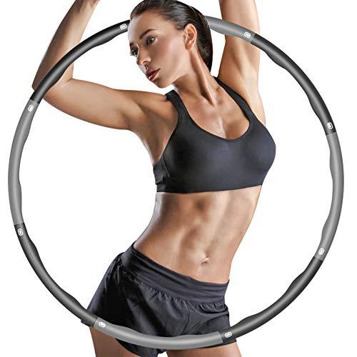 ZIMAIC Hula Hoop, Hoola Hoop für Erwachsene & Kinder zur Gewichtsabnahme und Massage, 6-8 Segmente Abnehmbarer Hoola Hoop Reifen Geeignet Für Fitness/Sport/Zuhause/BüRo/Bauchformung (1.0Kg)