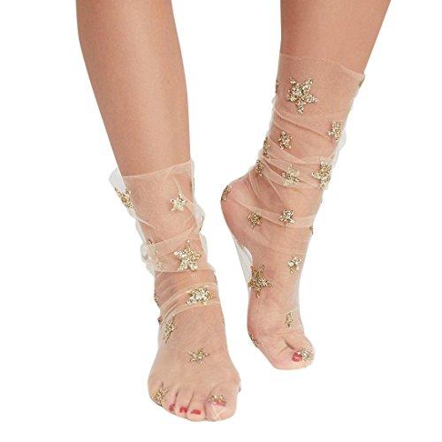 OverDose Damen Netzstrumpfhose Frauen Mode Glitter Star Soft Mesh Socke Transparente Elastische Sheer Knöchelsocke Kurze Netzsocken (A-Beige)