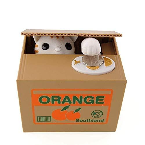 Justup Katze Spardose, Süße Katze Sparbüchse Diebstahl Sparbüchse Geld Sparen Geld Sammeln Sparschwein Geschenke Für Kinder (Orange)