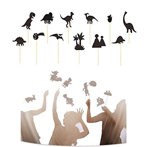 LTKJ 1/2/3/4Pcs Marionetas De Sombras para Niños Juego Educativo De Silueta Educativa Cuentos De Hadas para, Imagen De Marionetas De Mano Juego De Cognición Entre Padres E Hijos B-1PCS-Dinosaur