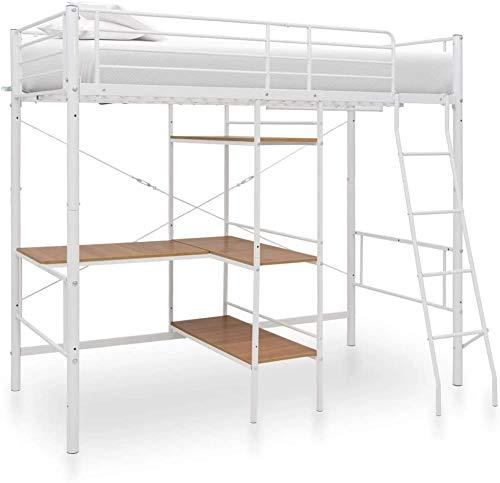 Marco del metal Cama muebles de dormitorio con literas Estudio marco de trabajo de escritorio,White