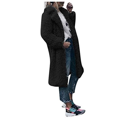 Xmiral Strickjacken Damen Kunstpelz Plüsch Umlegekragen Lange Mantel Einfarbig Winter Warm Jacke Fleece Mode Parka Wintermäntel Trenchcoat(Schwarz,L)