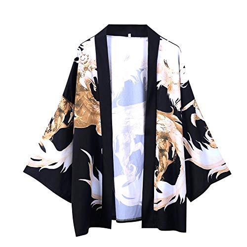 JFHGNJ Camicie da Uomo a Maniche a Cinque Punte Kimono da Uomo e da Donna Mantello Jacke Top Camicetta Camicie Casual Camicia da Uomo Maschile-Giallo_XL_0