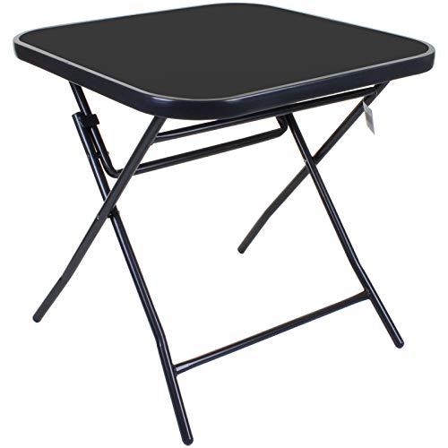 Marko Outdoor 70cm Square Folding Glass Table Outdoor Garden Patio Furniture Black Metal Frame
