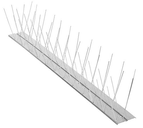 Windhager Taubenabwehr Aluminium Vogelabwehr Taubenabwehrspitzen Taubenspikes Set Leiste und Edelstahl-Spikes, 5,8 x 60 x 11 cm, 07130, Silber, 60 cm